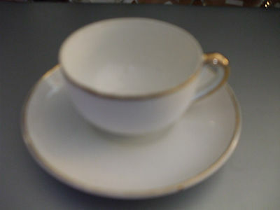 Vintage Meito Fine China Japan Small Cup and Saucer Hand Painted Gold Rim EUC