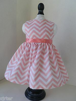 "Doll Clothes Dress Fits 18"" American Girl  - Pink and White Chevron"