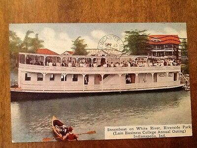 Indianapolis Indiana Steamboat Riverside Park Lain College Antique Postcard 1909