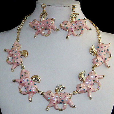 18k Gold GP When Pigs Fly Earring Necklace Multi Austrian Rhinestone Crystal
