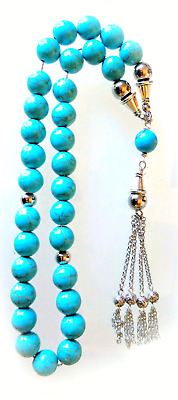 Tasbih Worry Beads Komboloi Turquoise 10mm Sterling Silver 925 Spacers_1692