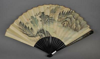 Spring Scene Fan Painting Signed WenZhong Lot 33