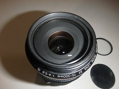 Canon EF 75-300 mm F/4-5.6 IS USM Lens w/ Filter, Very Good Condition.