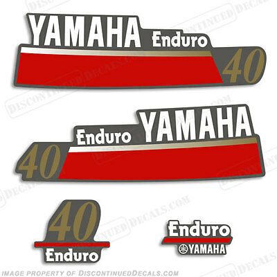 Yamaha 40hp Enduro Outboard Decal Kit - Reproduction Decals in Stock fourstroke