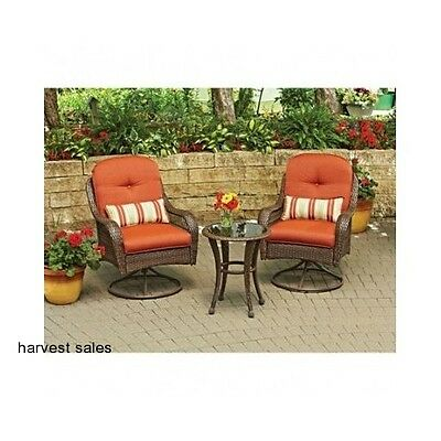 Outdoor Patio Set Furniture 3 Piece Rocking/Swivel Wicker Chairs and Table