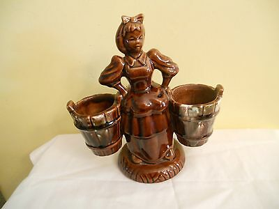 Vintage Brown Haeger Girl Figurine with 2 buckets