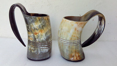 Pair of Viking Drinking Horn Mug cup chalice goblet for beer wine mead pagan ale