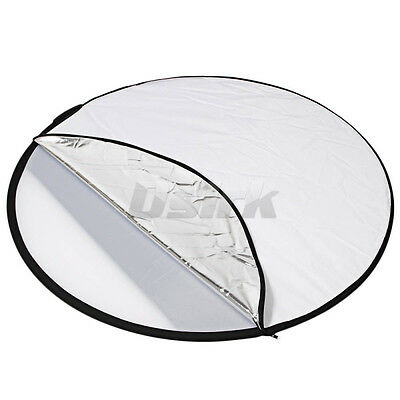 """2 in 1 110CM 43"""" Round Flash Photo Studio collapsible light reflector silve gold"""