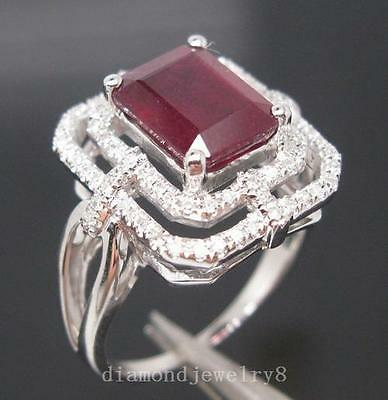 4.15ct Solid 14K White Gold Genuine Natural Diamond Blood Ruby Engagement Ring