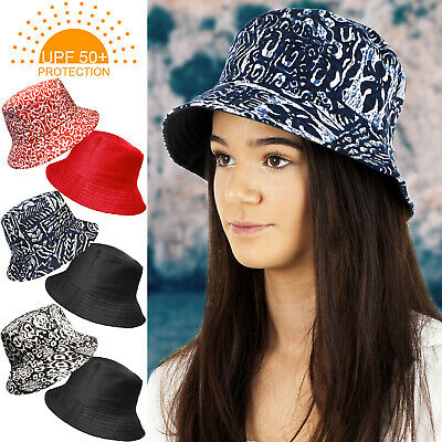 0855bb298e2 Upf 50+ Protection Ladies Reversible Cotton Bush Bucket Summer Sun Holiday  Hat