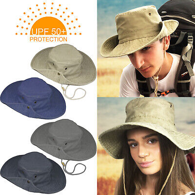 Upf 50+ Protection Mens Ladies Australian Outback Safari Bush Hat Cottonaussie
