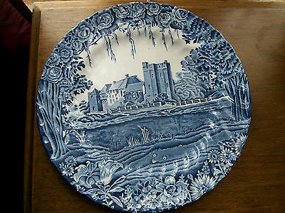 Wood & Sons collectible plate , castle in blue , scalloped edge design