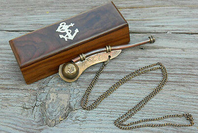 Bosun's Whistle  Antiqued Brass Boatswains Pipe with Storage Box