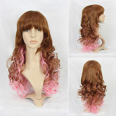 57cm Long Wavy Curly Cosplay Wigs Full Hair Wig Fancy Party Brown Mix Pink New