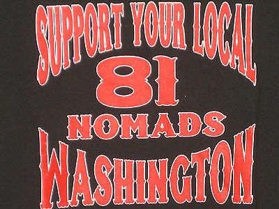 SUPPORT YOUR LOCAL 81 NOMADS WA Big Red Machine T-shirt Red & White 666 1%er