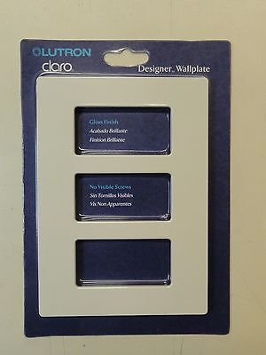 CW-3-LA Lutron Claro Designer 3-Gang Wallplate Light Almond Gloss 1 UNIT