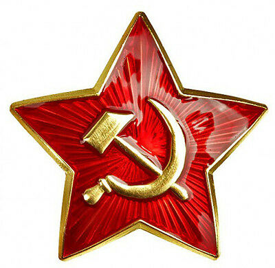 RUSSIAN SOVIET ARMY UNIFORM  METAL SOLDIER HAT BADGE RED STAR USSR MILITARY PIN