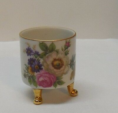 Vintage Mitterteich Bavaria Germany Small Footed Cup with Flowers Gold Accents