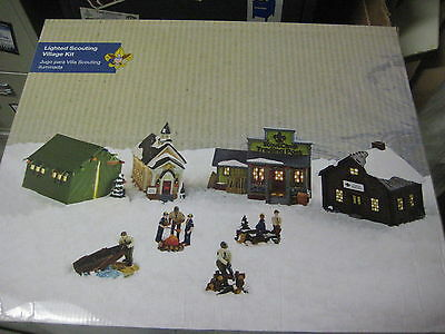 Boy Scout lighted Christmas Village Boxed Set