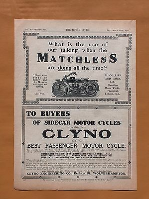 F  1911 Original Matchless 1/2 Page Ad And Mobil Oil Full Page Ad! Genuine!