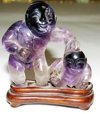Antique Carved 19th Century Purple Tourmaline Figure Qing Dynasty