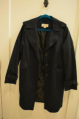 Michael Kors Solid Black Cotten/Polyester Blend Trench Coat Women's Size L