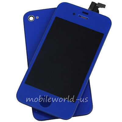 Deep Blue For iPhone 4S LCD Display+Touch Glass Screen Digitizer Full Assembly