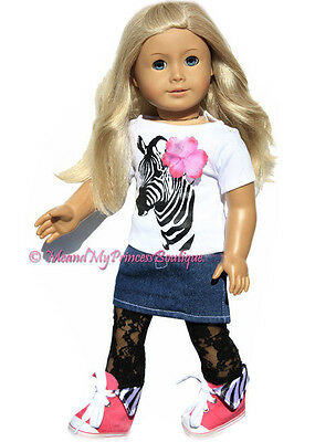 """Zebra TOP+Lace Leggings+Denim Skirt clothes fits 18"""" American girl doll only"""
