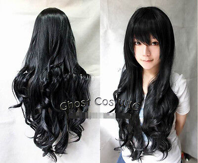 New Women 80cm Long Wavy/Curly Black Cosplay Fashion Full heat resistant Wigs