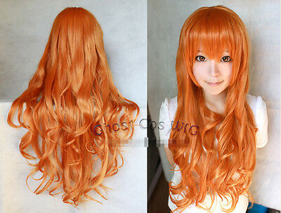 New Women 80cm Long Wavy/Curly Orange Cosplay Fashion heat resistant Full Wigs