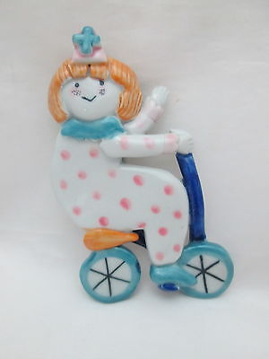 Ceramic Doll Pin / Brooch - Girl  White Pants Jumpsuit w Pink Dots on Scooter