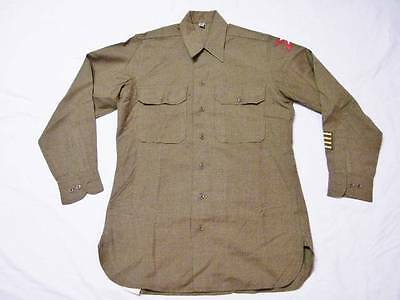 Original Vintage 40's WWII US Army Wool Uniform Shirt Large size 15 x33 Patches