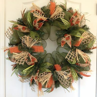Green Fall Deco Mesh Wreath By Deck That Wall