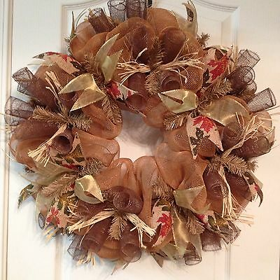 Rust Fall Deco Mesh Wreath By Deck That Wall