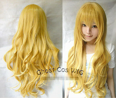 New Women 80cm Long Wavy Curly Yellow Cosplay Fashion heat resistant Full Wigs