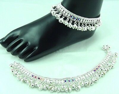 2pcs(pair) Silver Tone Indian Bollywood Heavy Bell Noise Chain Anklet Payal ~19
