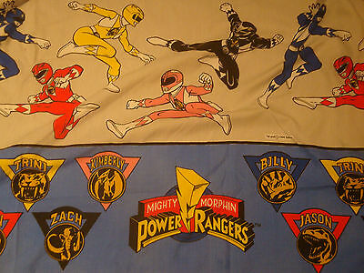 1994 Saban Mighty Morphin Power Rangers Twin Flat & Fitted Sheet Cutter Fabric