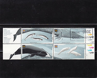 CANADA #1868-1871a USED WHALES SE-TENANT  BLOCK OF 4