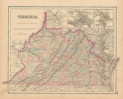 Virginia Antique Map Colton 1858 -2 Original