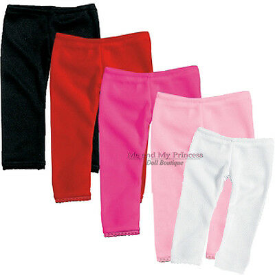 """Lot RED+WHITE+BLACK+HP+PINK LEGGINGS 5pc clothes fit 18"""" American Girl Doll Only"""