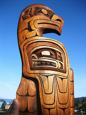 Authentic Northwest Coast native Art carving LARGE EAGLE Sculpture First Nations