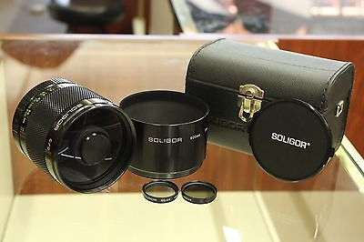 Soligor 500mm f8 Mirror Lens with Case, Caps, Hood, ND Filters EF Canon Mount