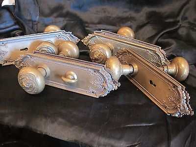 Rare Antique Brass Plates and Knobs, Set of 4, two sided