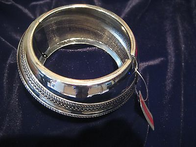 """CHUNKY SILVERTONE ITALIAN BANGLE WITH CIRCULAR  PATTERN BY """"COLOURS & BEAUTY"""""""