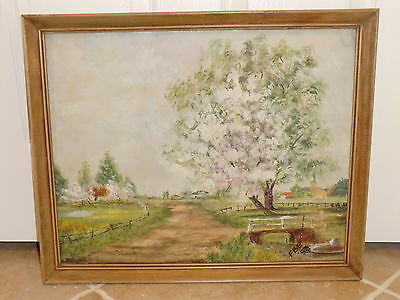 BEAUTIFUL VINTAGE ORIGINAL OIL PAINTING SIGN BY ARTIST
