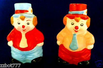 2 Vintage Ceramic Clown Bell Collectibles Dinner Bells Colorful