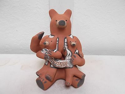 Hand Coiled Jemez Pottery Native American Indian Pueblo Bear Storyteller C.Toya
