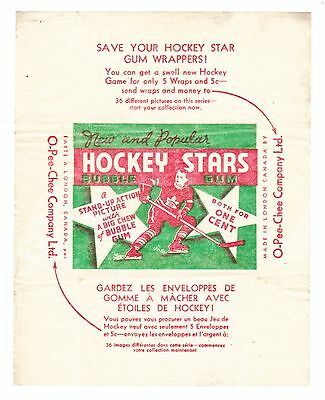 RARE HIGH CONDITION 1936-37 O-PEE-CHEE HOCKEY SERIES D 1 CENT WRAPPER