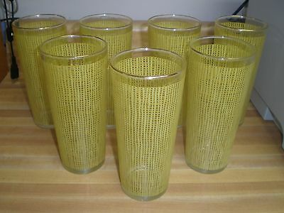 Lot of 7 Vintage Yellow Basket Weave Tumbler Tall Drinking Water Tea Glasses