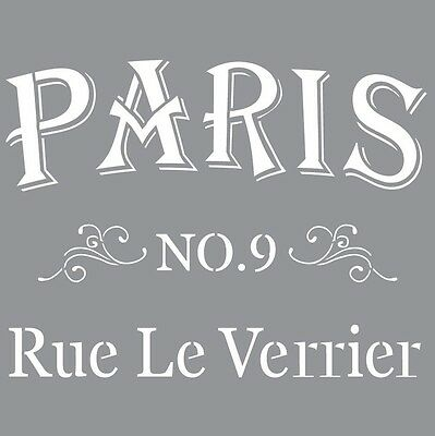 """12"""" Large Stencil Vintage Style Paris Street For Furniture Upcycling DecoArt"""